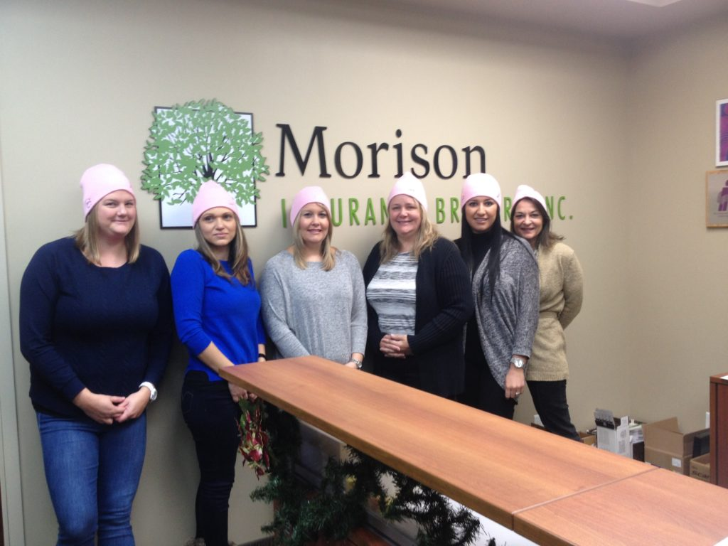 Morison Insurance Brokers Model Breast Cancer Awareness Toques